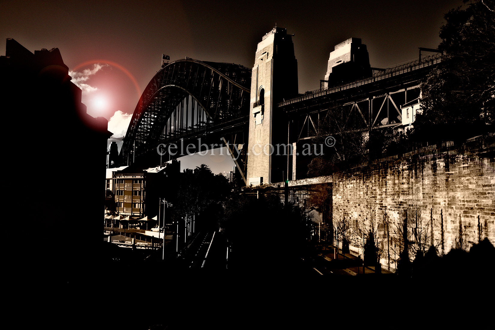 Sydney Harbour Bridge in Sepia