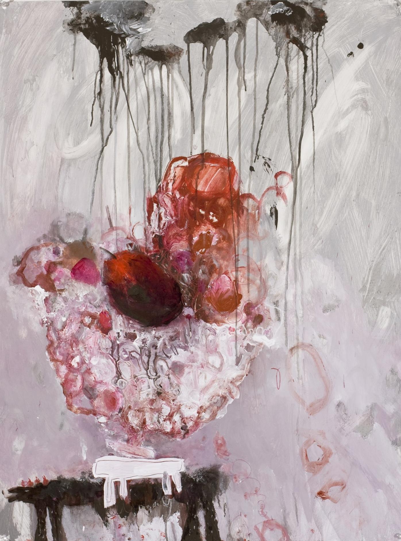 black dog, white table, cherries