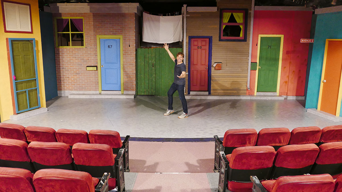 This is the set of Avenue Q which is currently running at The Lonny Chapman Theatre.