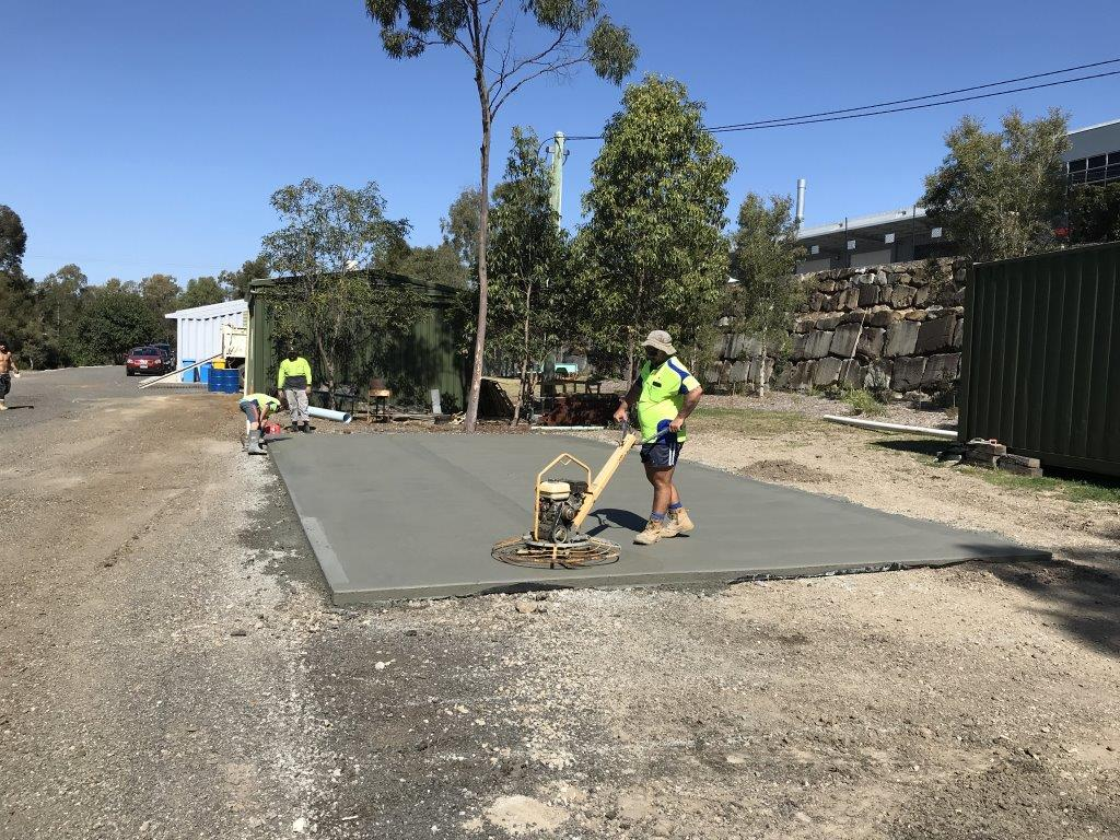 laying the concrete for our new storage shed - august 2018