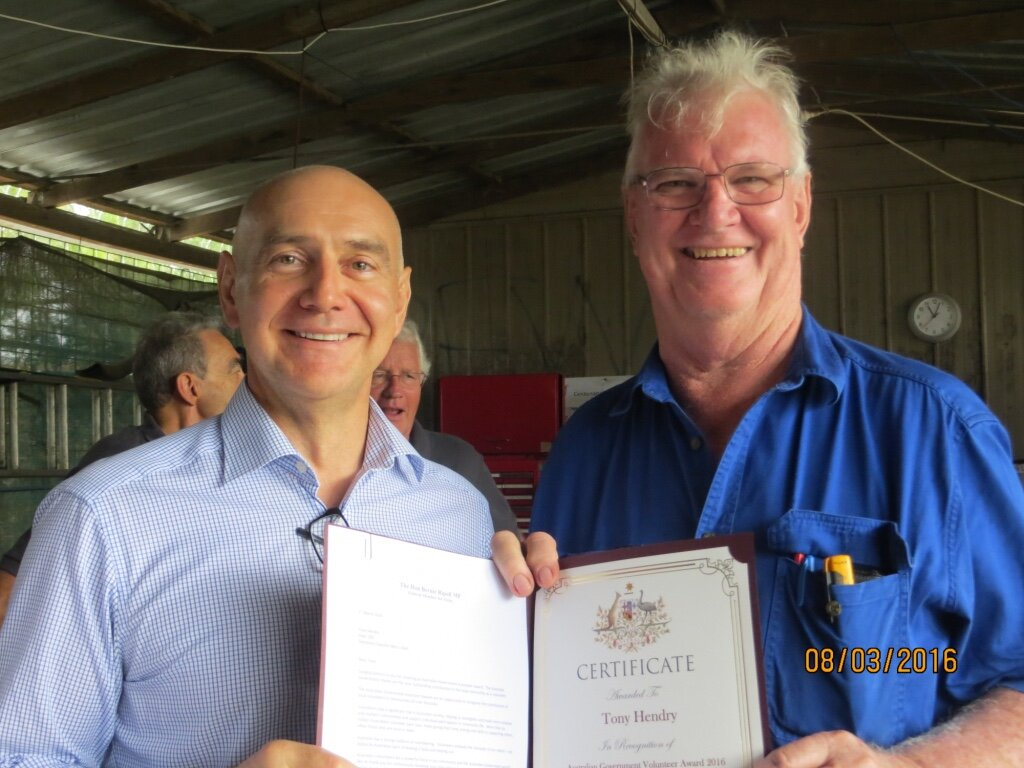 Presentation of Volunteer Award Certificate by The Hon Bernie Ripoll MP to Tony Hendry - 8th March 2016