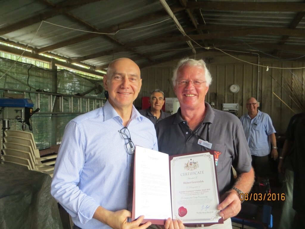 Presentation of Volunteer Award Certificate by The Hon Bernie Ripoll MP to H.Gravendyk - 8th March 2016