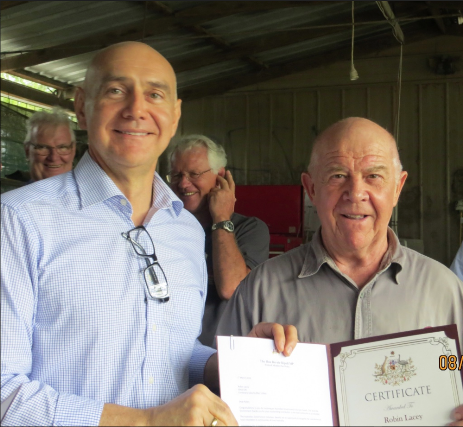 Presentation of Volunteer Award Certificate by The Hon Bernie Ripoll MP to R.Lacey - 8th March 2016