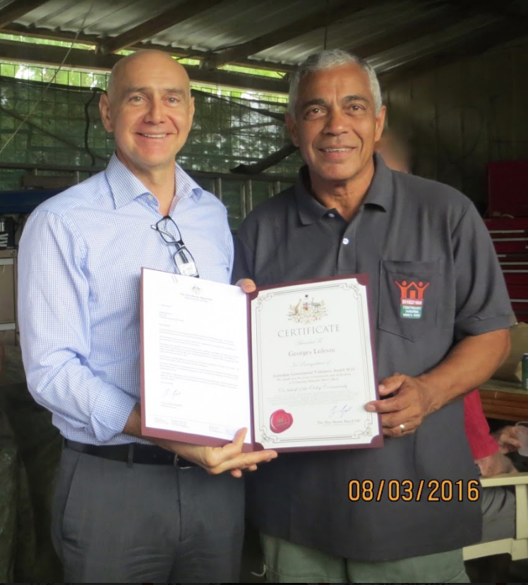 Presentation of Volunteer Award Certificate by The Hon Bernie Ripoll MP to G.Lefevre - 8th March 2016