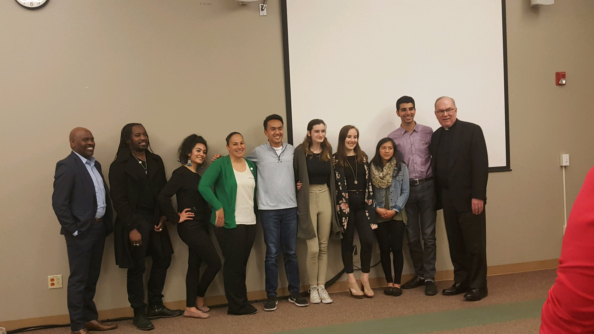The 2019 cohort of Ignatian Leaders with Seattle University President Stephen Sundborg, S.J.