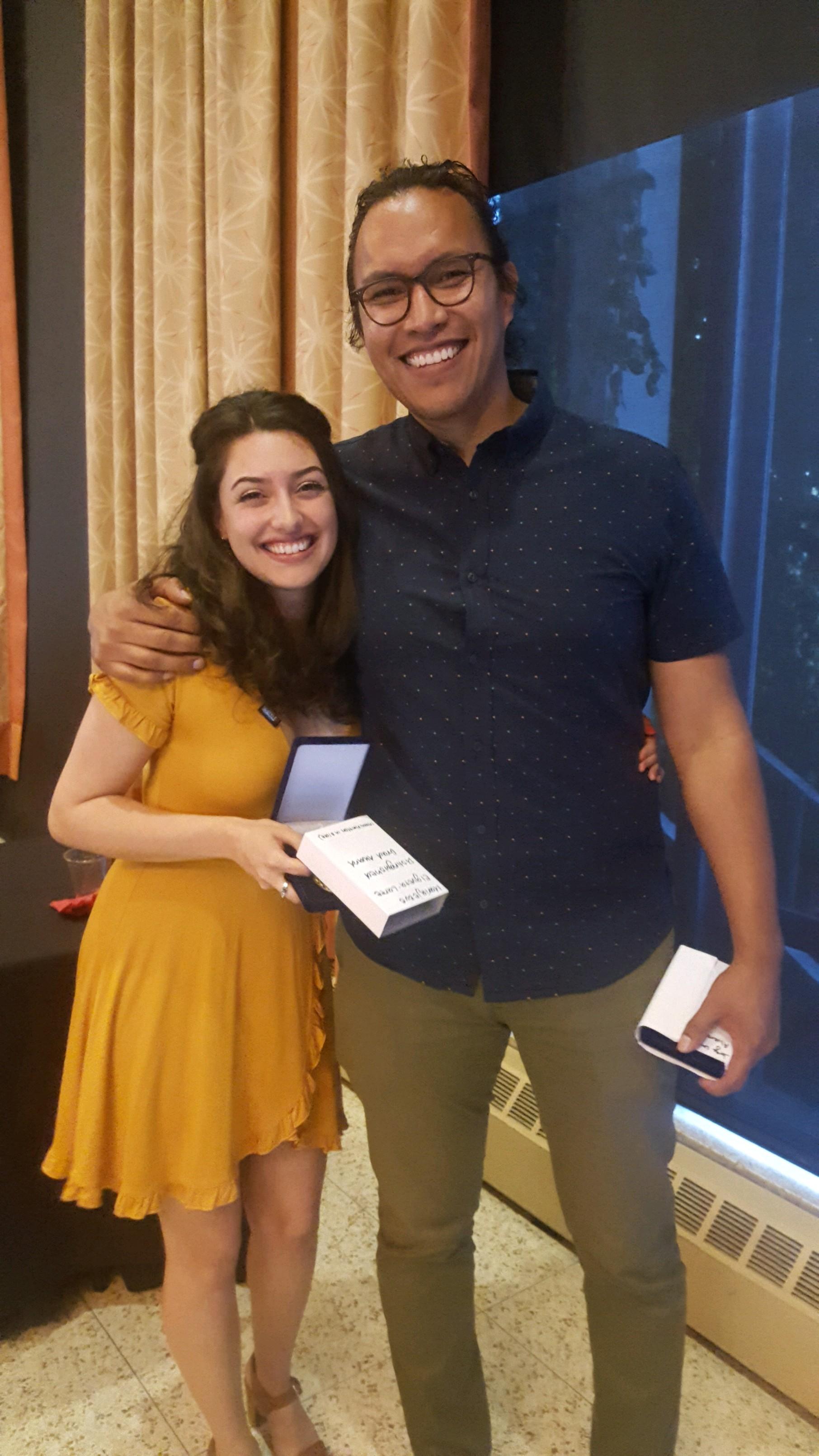 Mariajesus Elgueta and Jorge Lara Alvarado with their medallions/awards