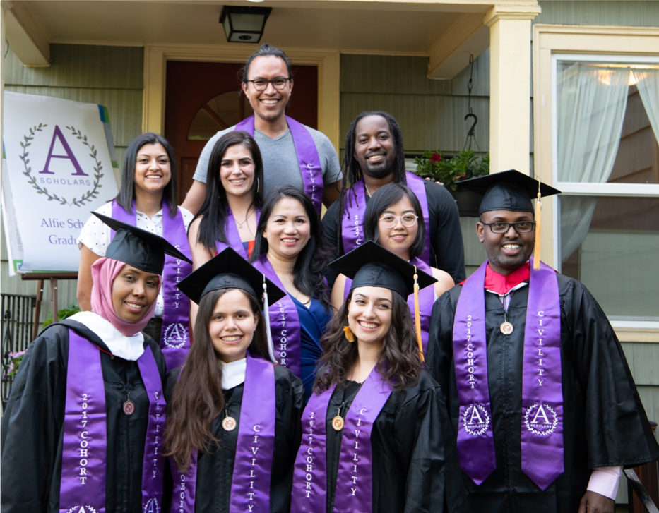 "First row: Faiza Abaroone (Nursing), Tiffany Carpenter (International Studies), Mariajesus Elgueta (Nursing), Abdulqadir ""Abdul"" Diriye (Diagnostic Ultrasound – Cardiovascular), Second row: Angela Flores-Marcus (Electrical Engineering), Danielle Davis (Nursing), Angel Vuong (Diagnostic Ultrasound), Azrael Howell (Psychology), Soren Tran (Nursing) Top row: Jorge Lara Alvarado (Civil Engineering)"