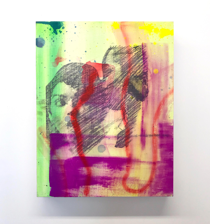 Shock and Awe , acrylic and photo transfer on panel, 2019
