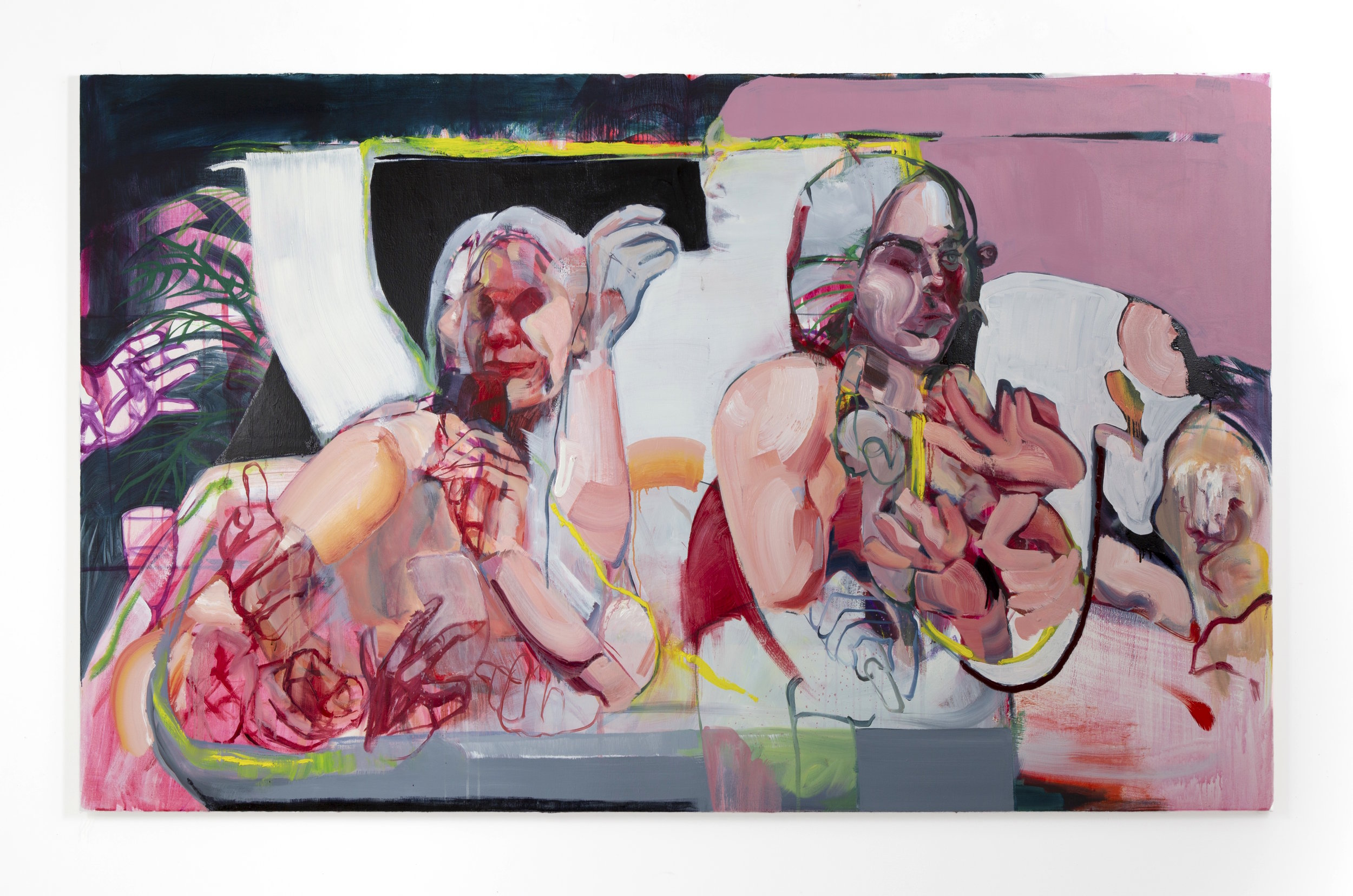 LA Hot Tub,  oil and acrylic on canvas, 84'' x 52'', 2019