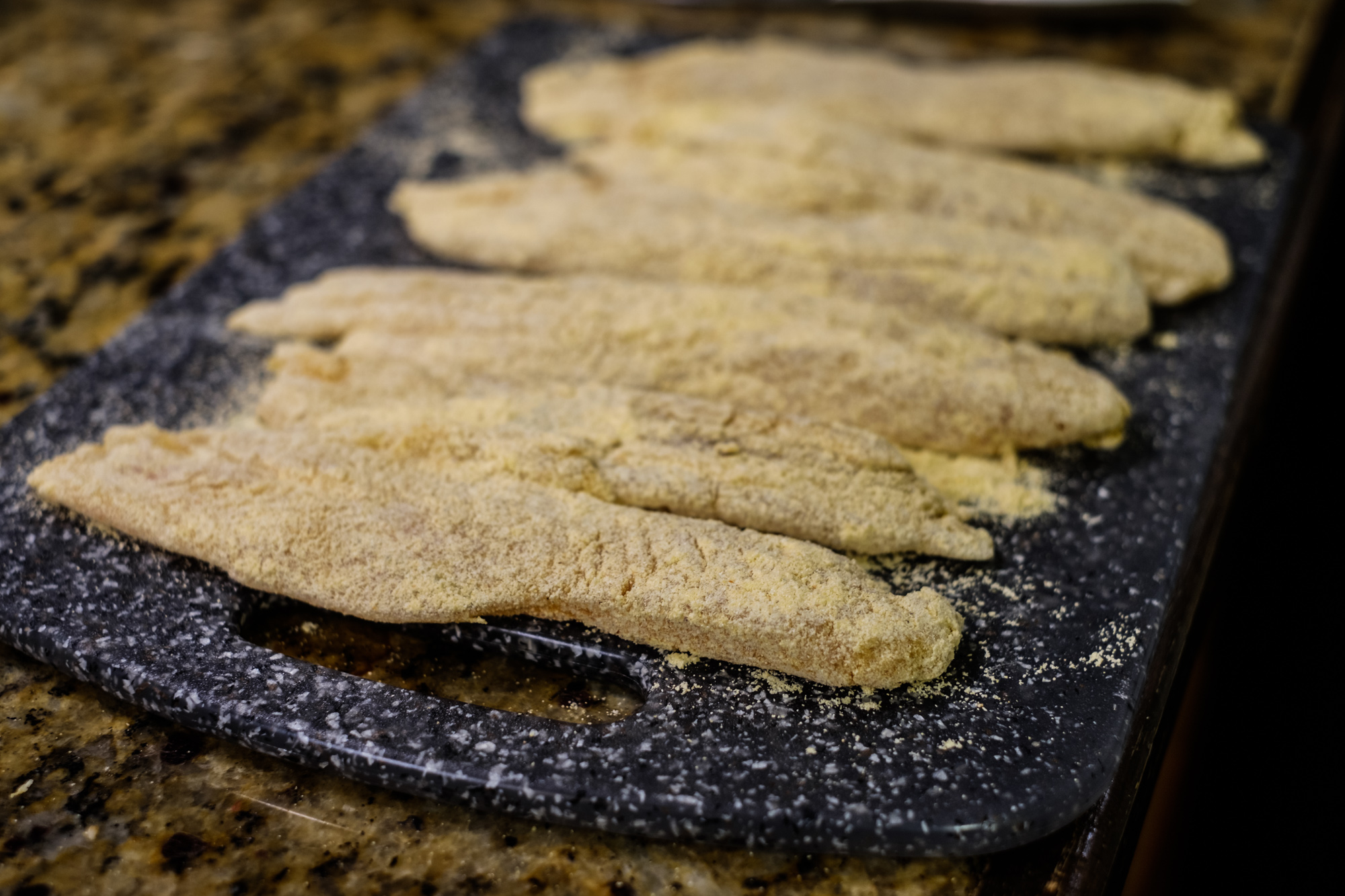 Fillets breaded in fish fry