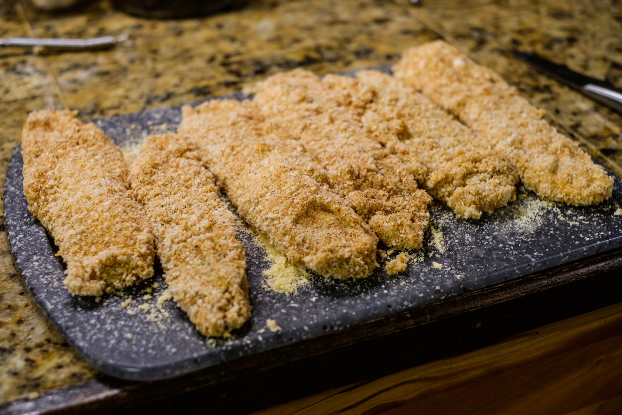 Breaded in panko and ready to fry