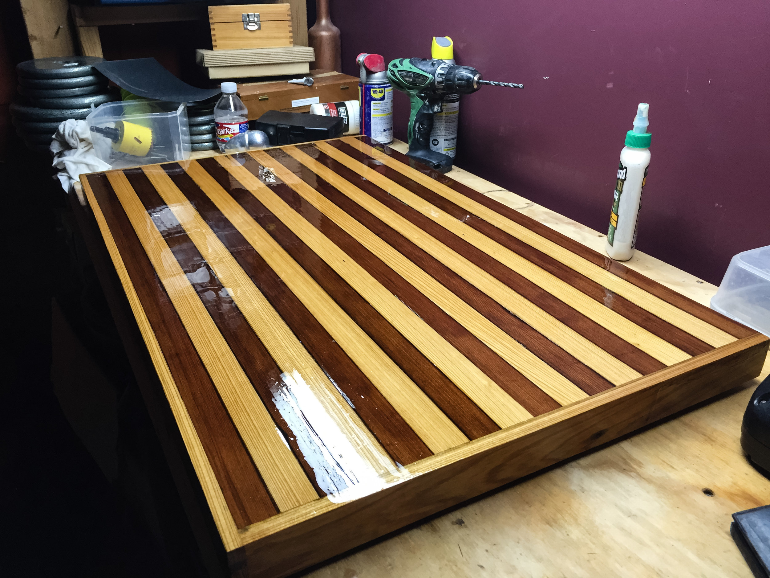 Cypress and redwood sink top