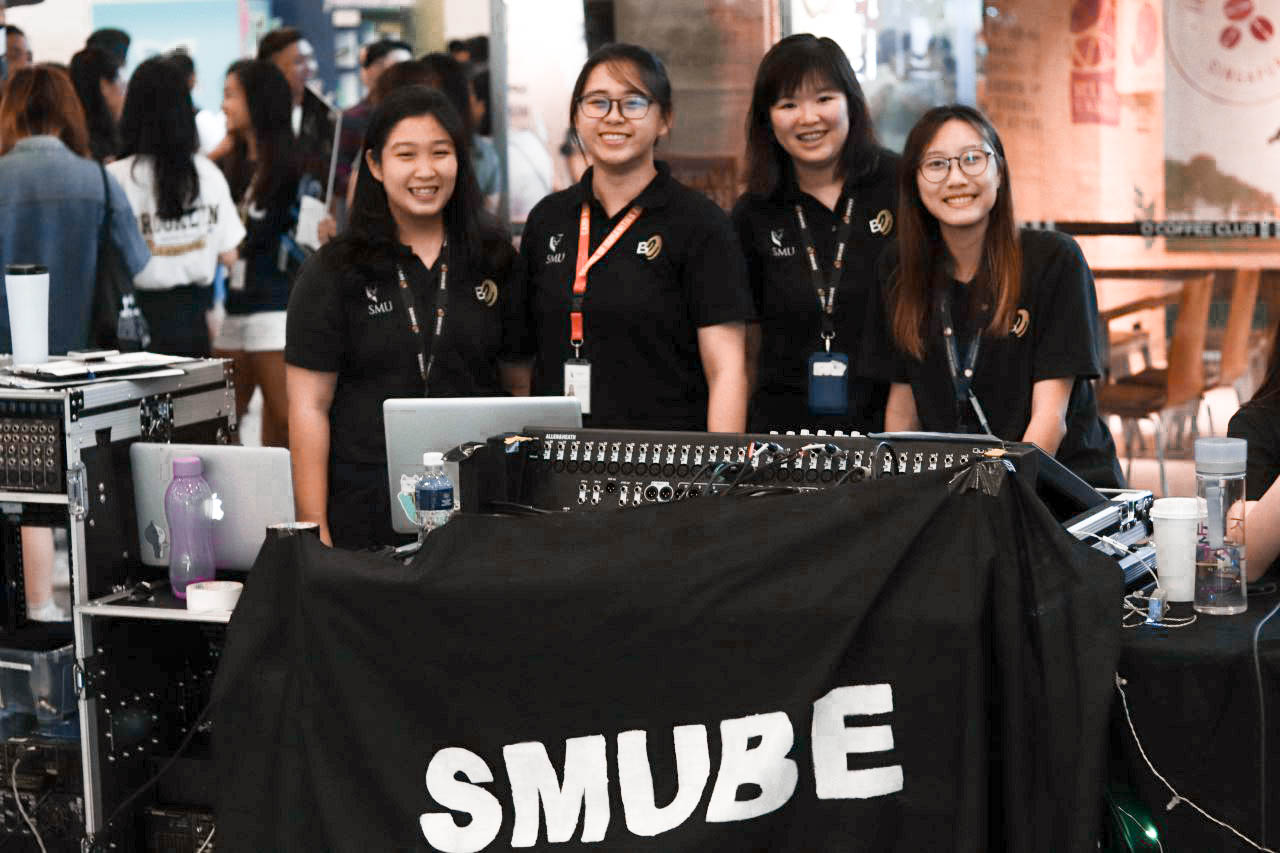 EVENTS & BACKSTAGE (E&B)  team is the sole provider of event technical support services at SMU. Crew members undergo sound reinforcement and live sound trainings conducted by Bruno Goh Luse (Founder of  GLB Productions ).