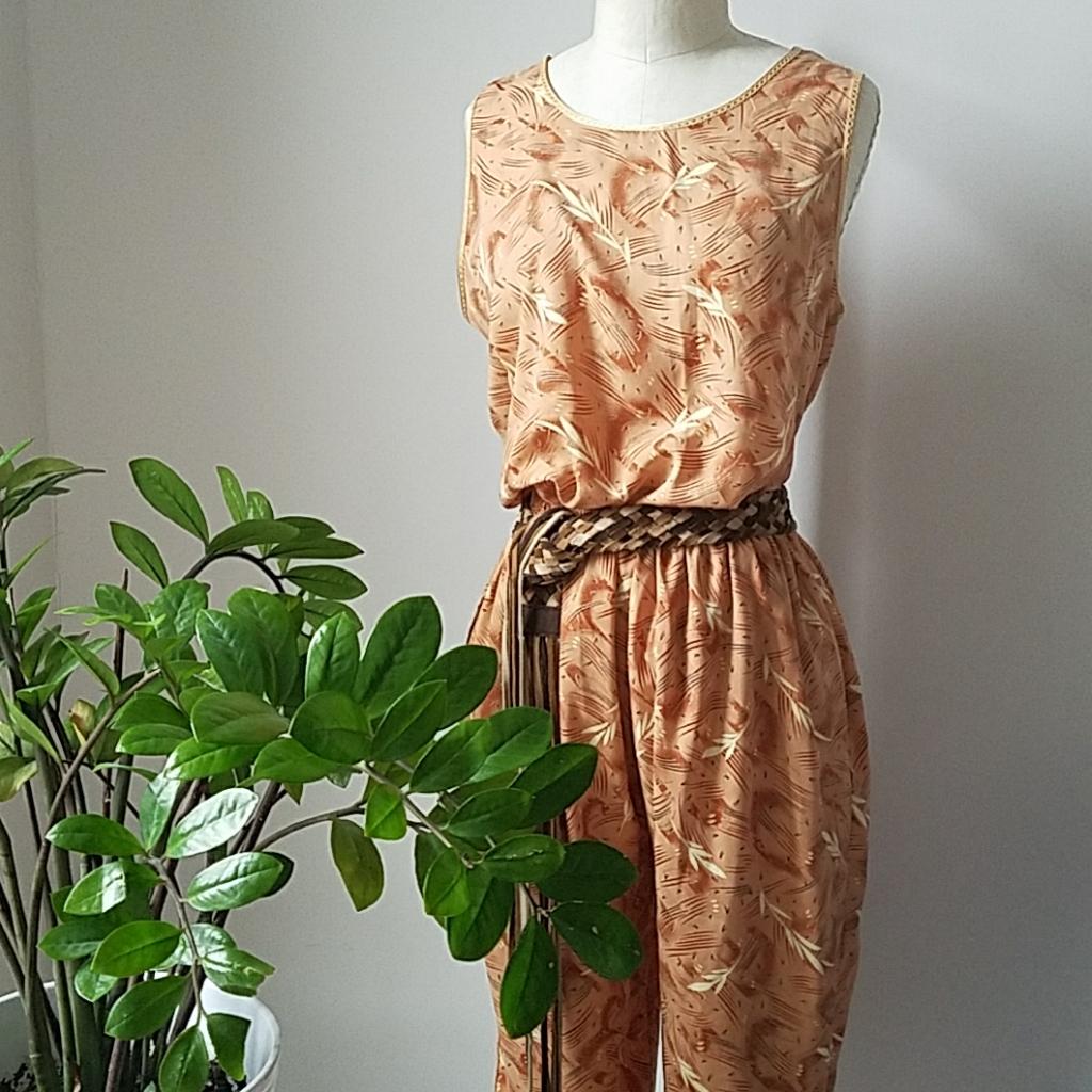 Vintage Printed Peach Jumpsuit