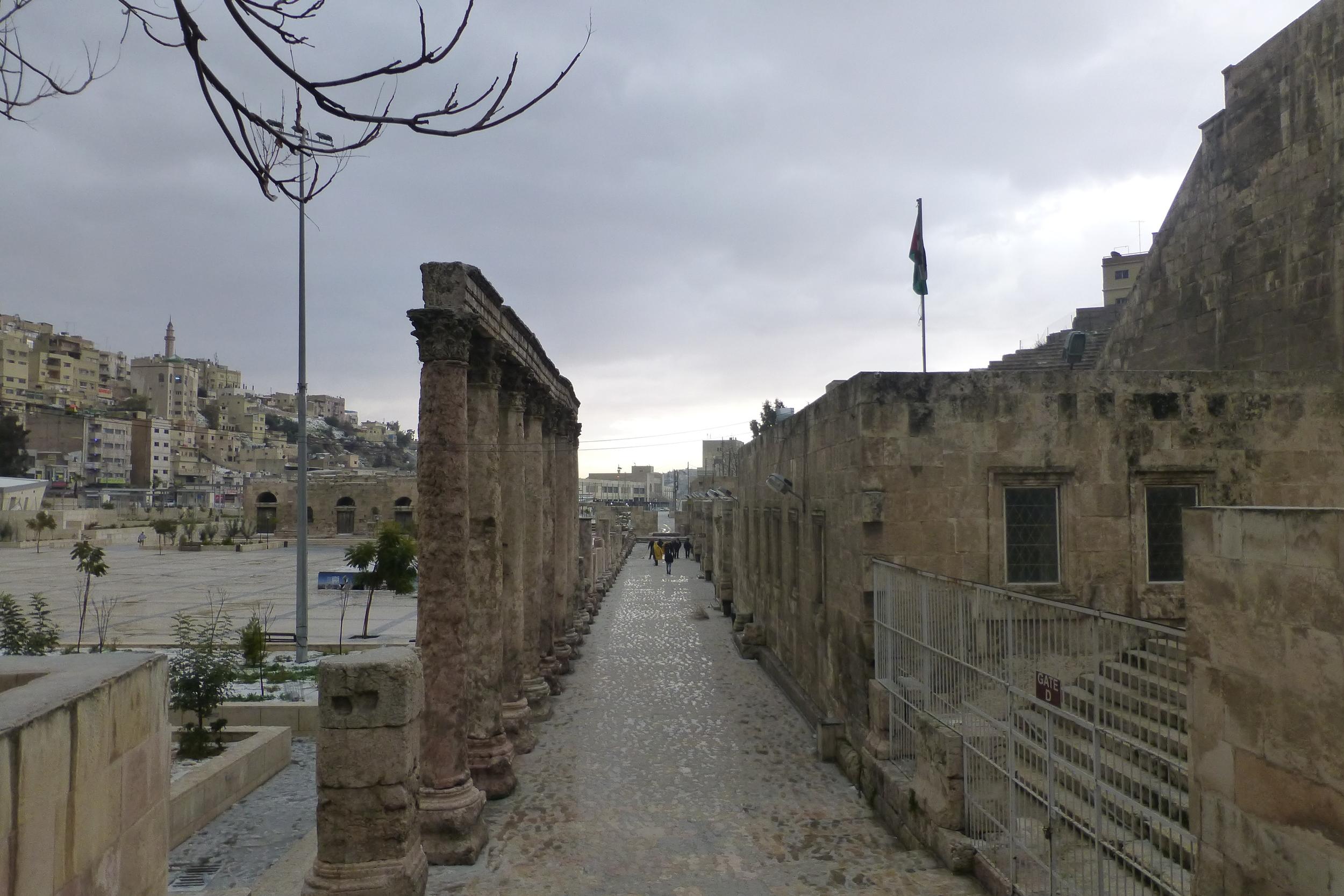 roman ruins, amman, with snow storm skies brewing
