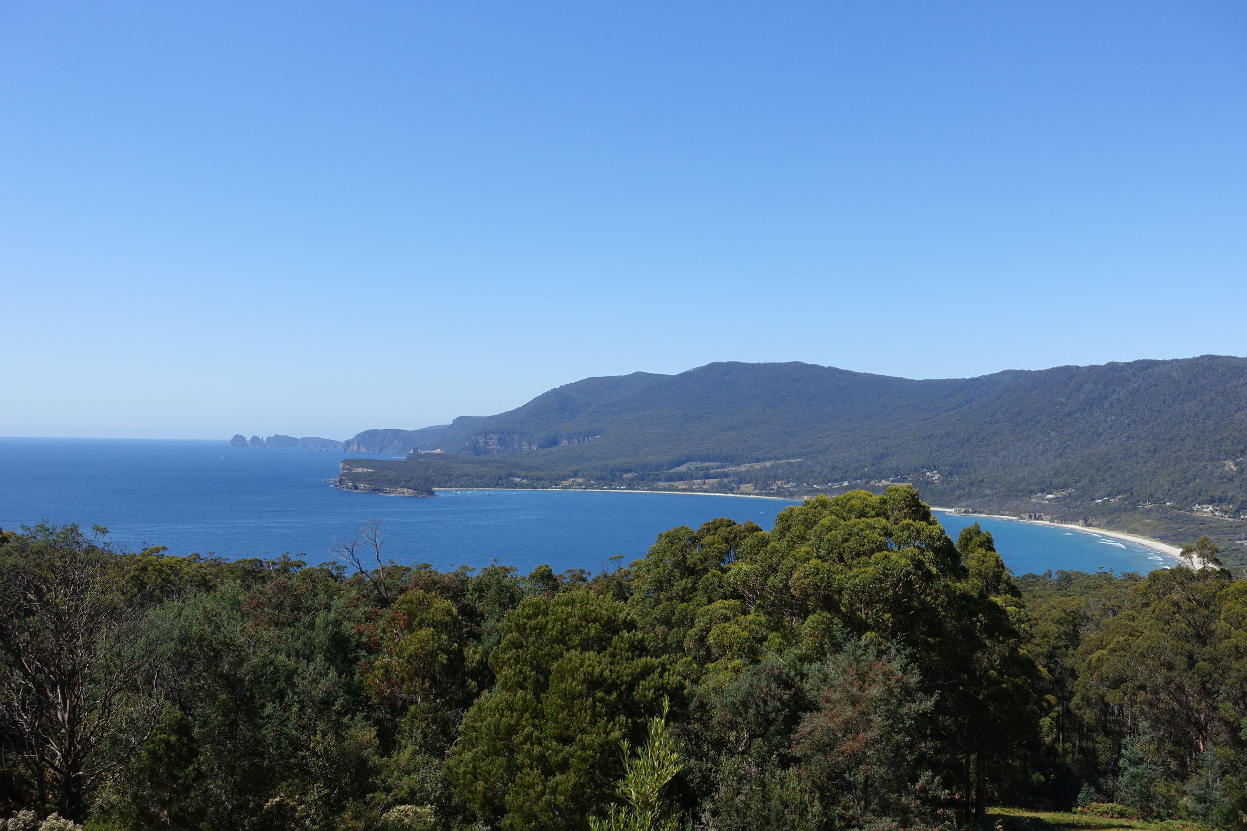 View of Cape Hauy, the Lanterns and Pirates Bay from viewing point.