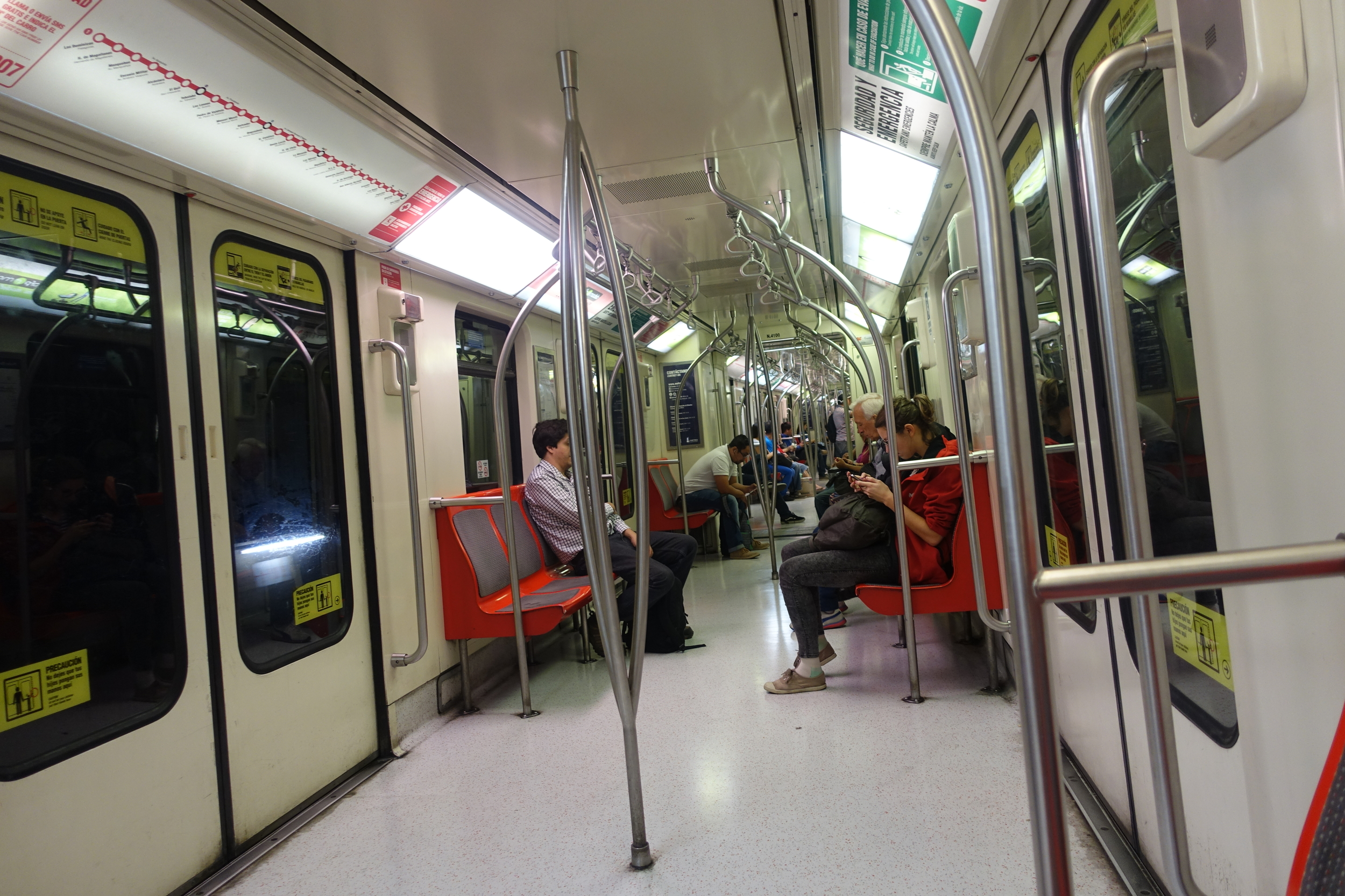 Santiago Metro during a less busy part of the day