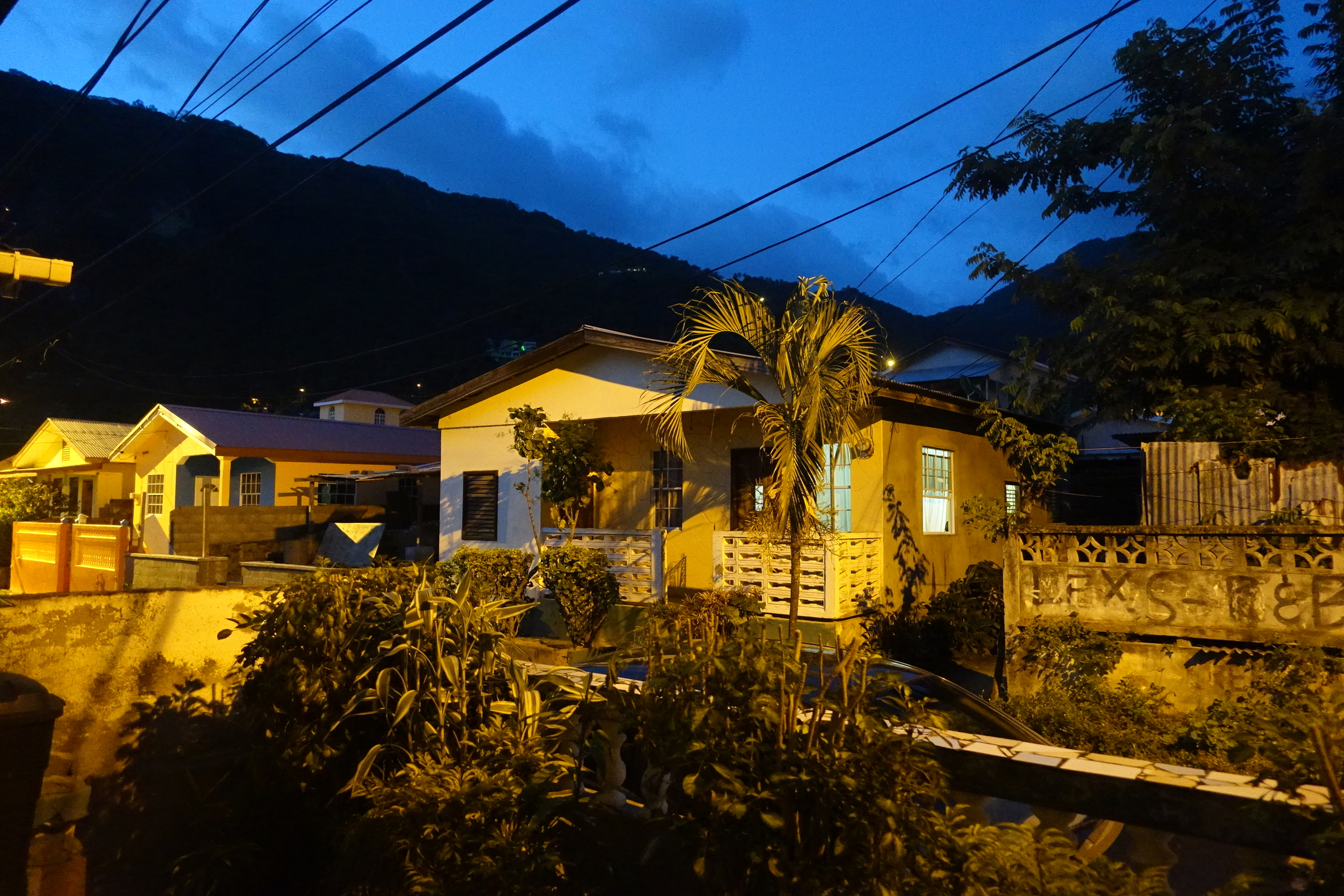 staying in the town of Soufriere -our street view