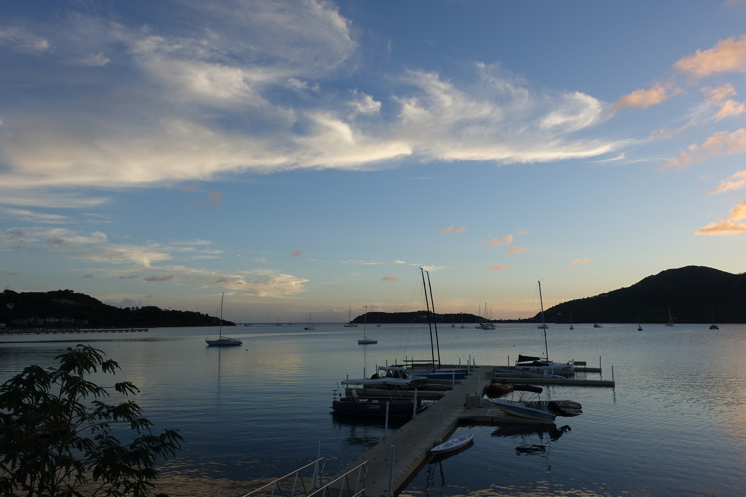 sunset at Falmouth harbour which adjoins English harbour