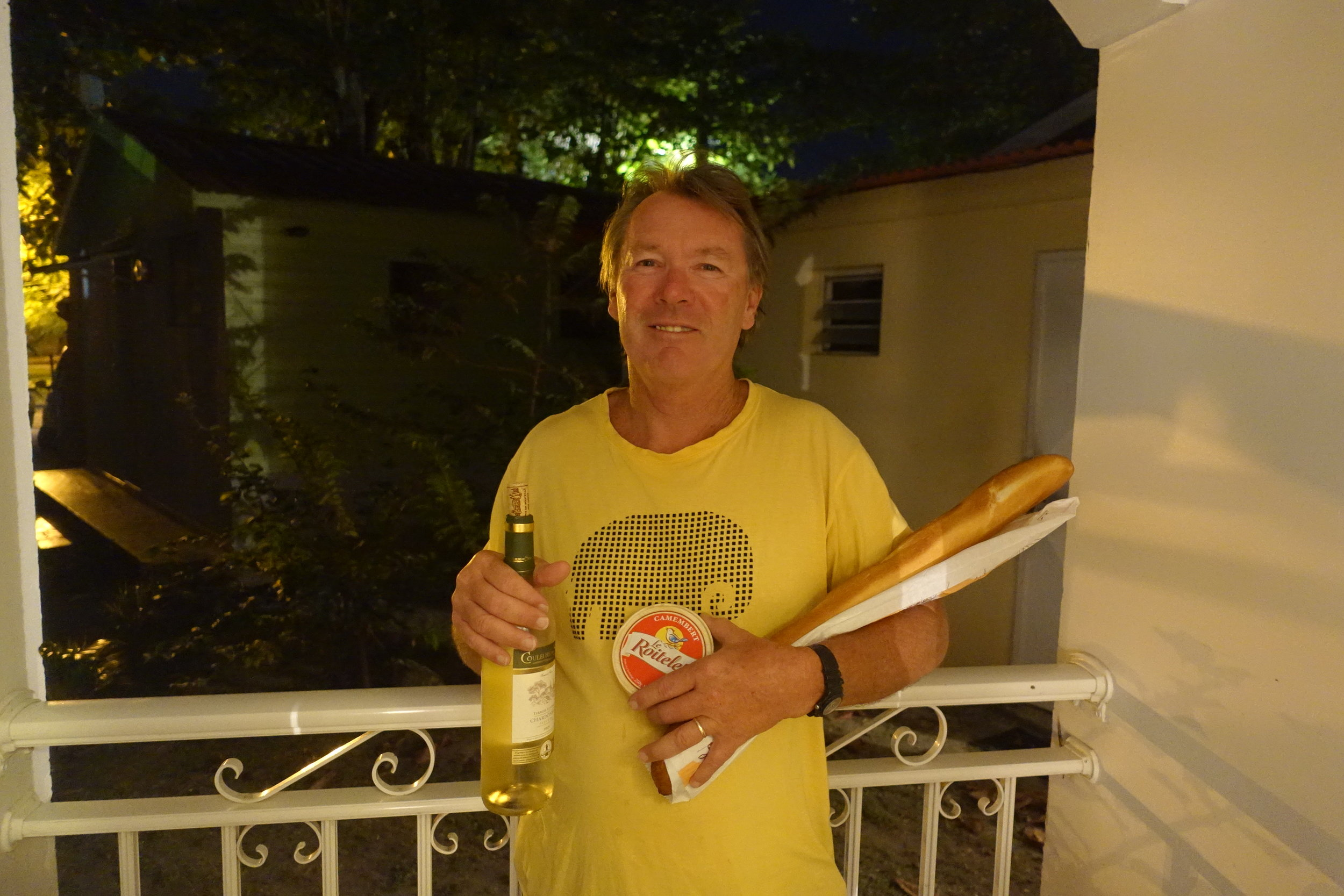 self catering in Martinique and the other French islands means bread, chees and wine.