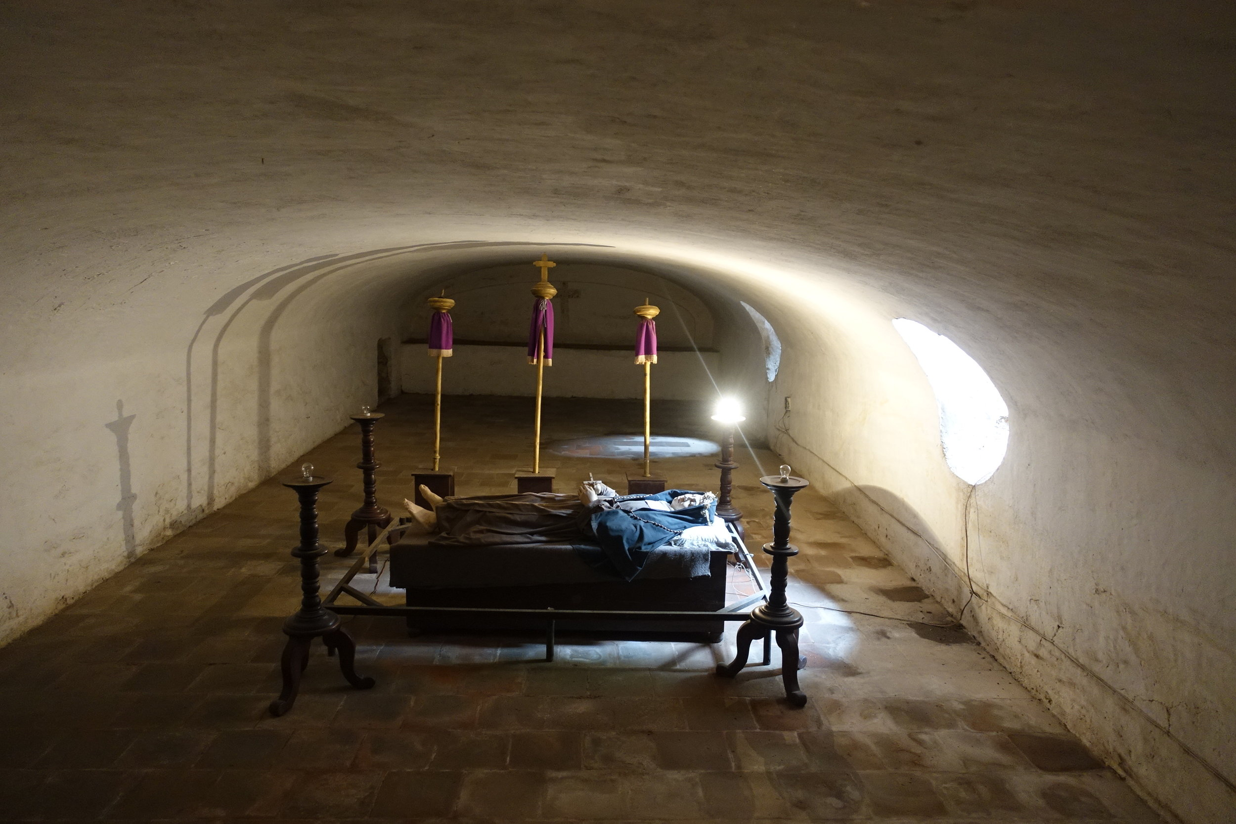 model of 18th century convent nun laid out after death
