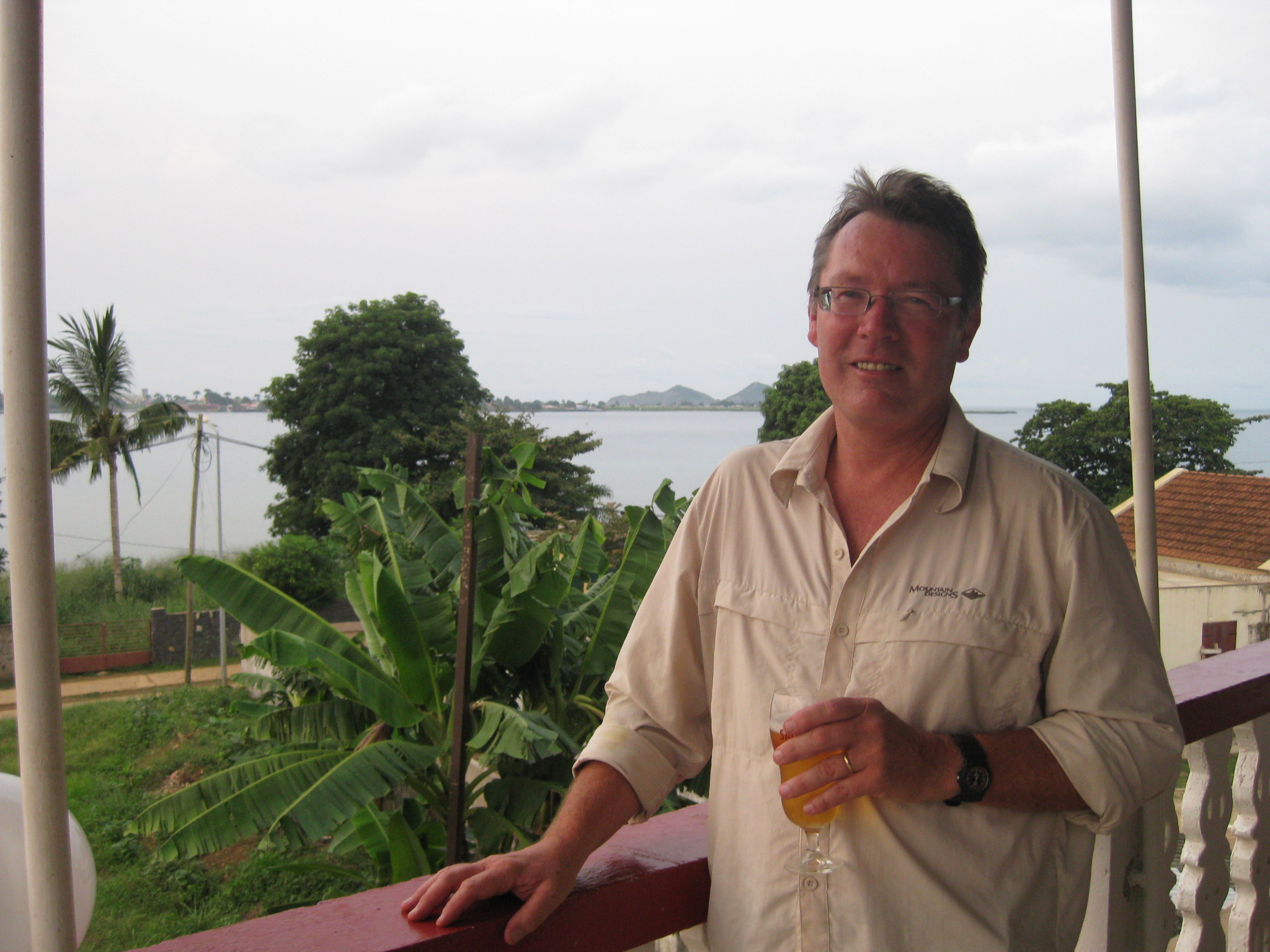 the best beer ever. That's sao tome in the background
