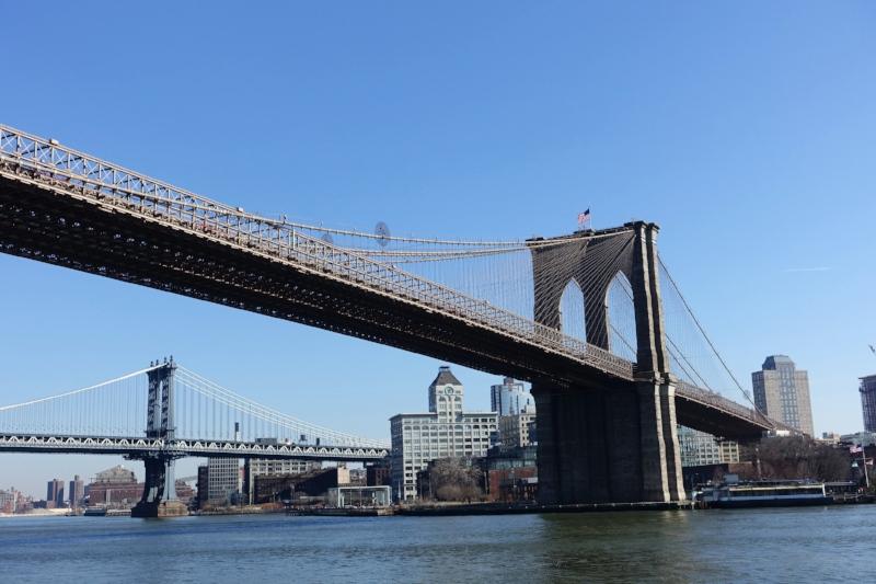 manhattan bridge (background) and brooklyn bridge