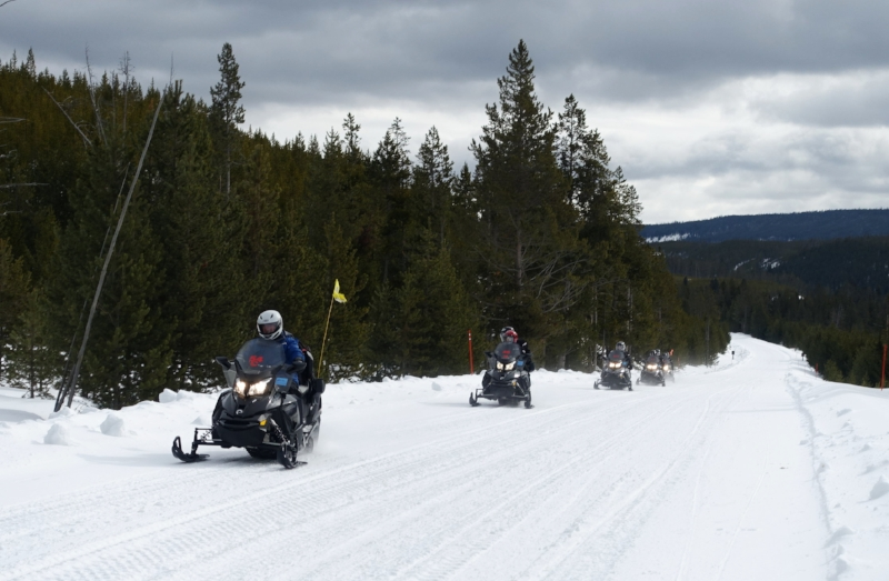 we saw a few snowmobile groups during the day
