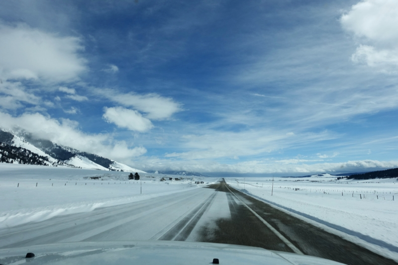 the road into west yellowstone - well driven cal