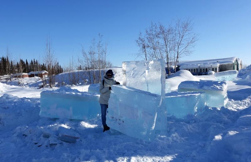the raw ice blocks