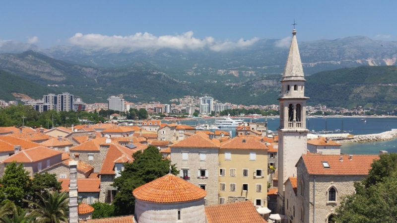 the view from inside budva's old town looking south