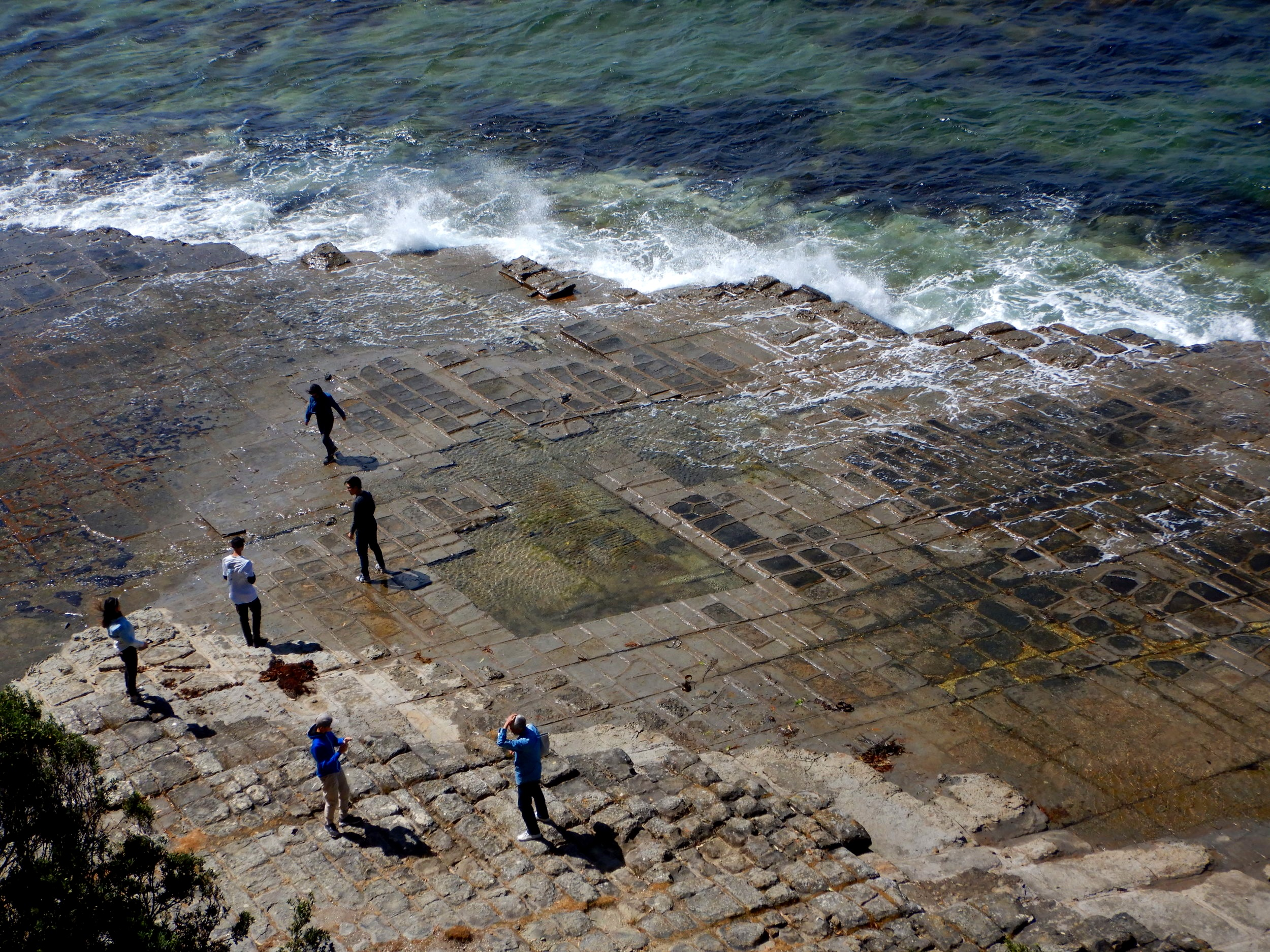tourists checking out the tessellated pavement