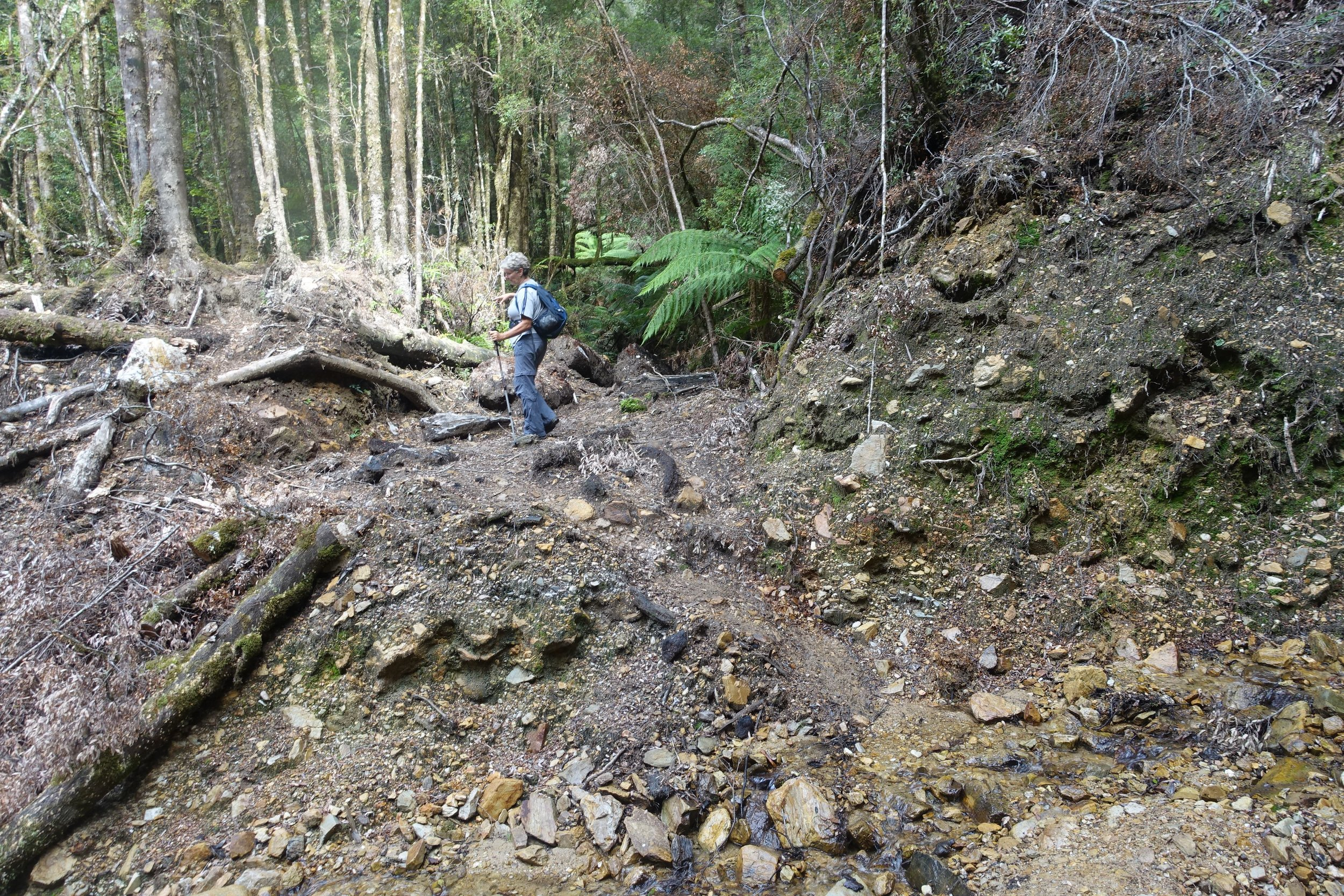 crossing the remains of a landslide