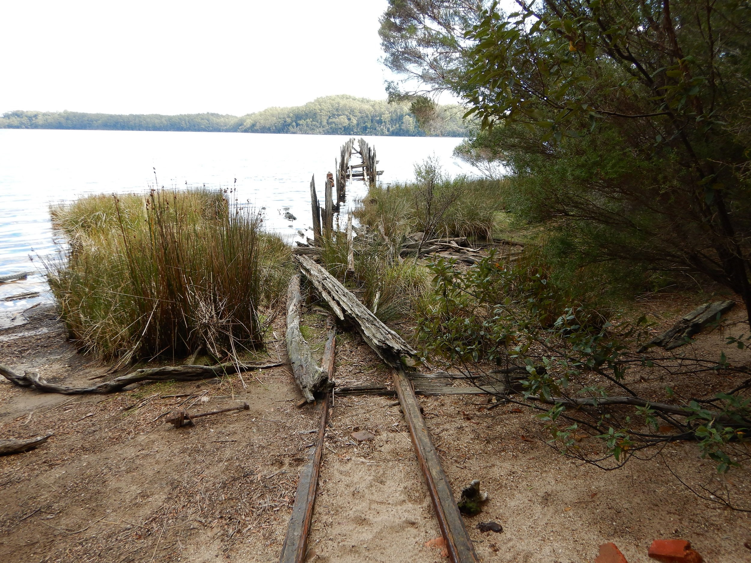 the rail tracks leading onto the wharf are still there