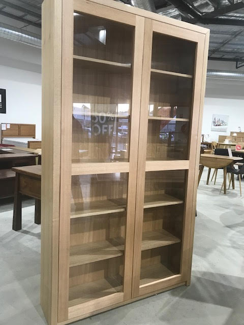Newton display cabinet , tasmanian oak , made to measure
