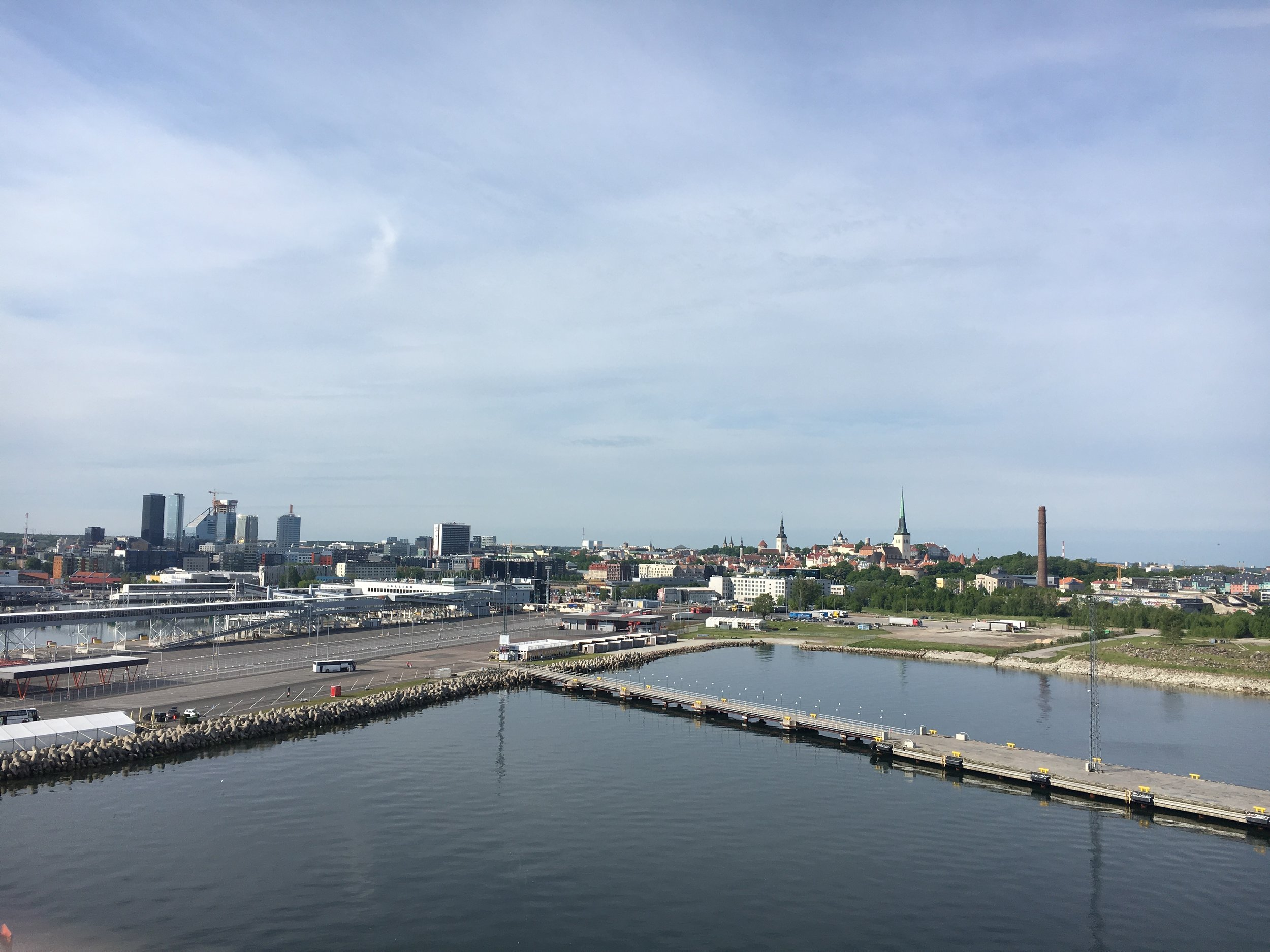 Morning view of the port in Tallinn.