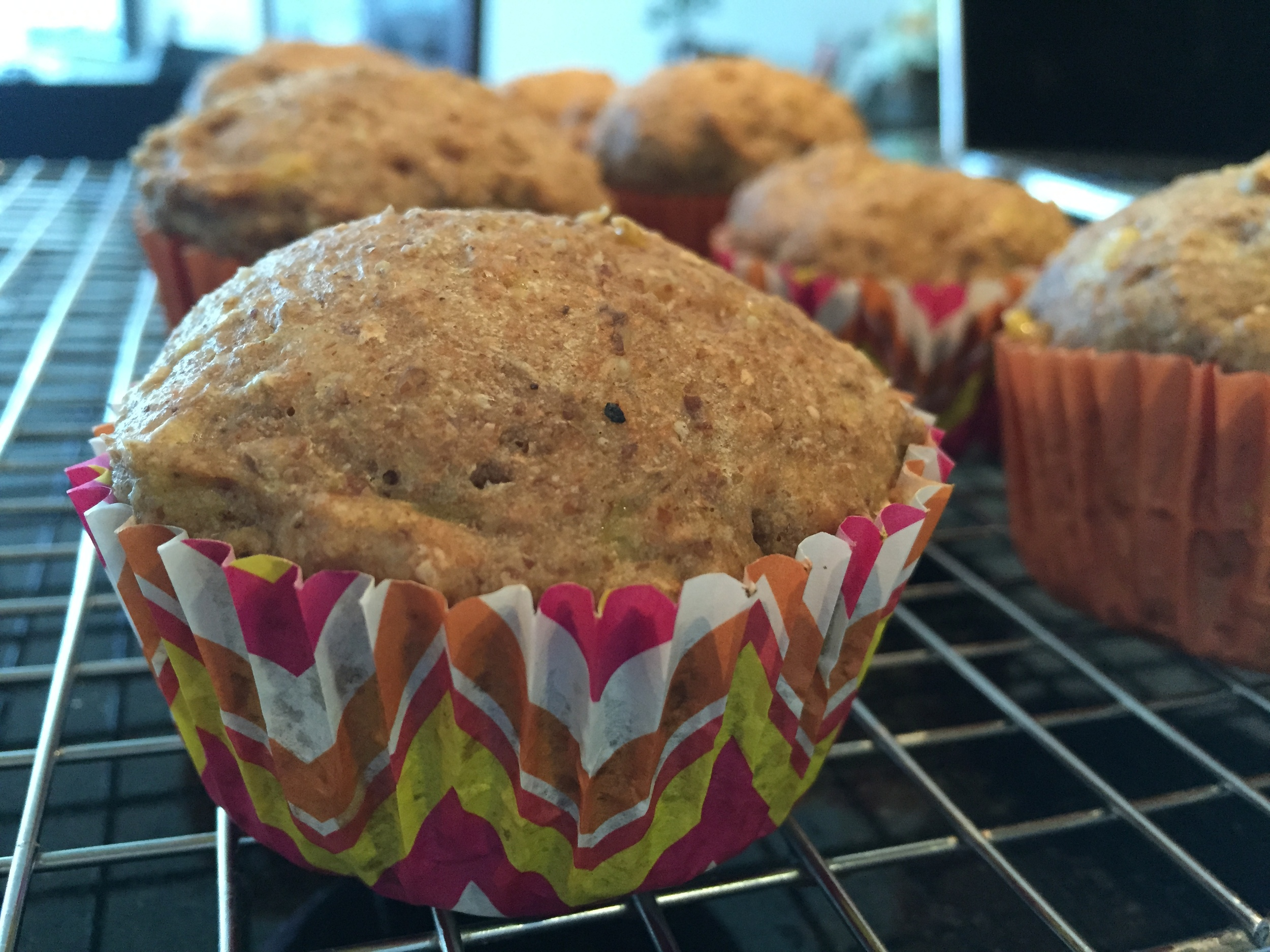 Muffins fresh out of oven without any sprinkles on them
