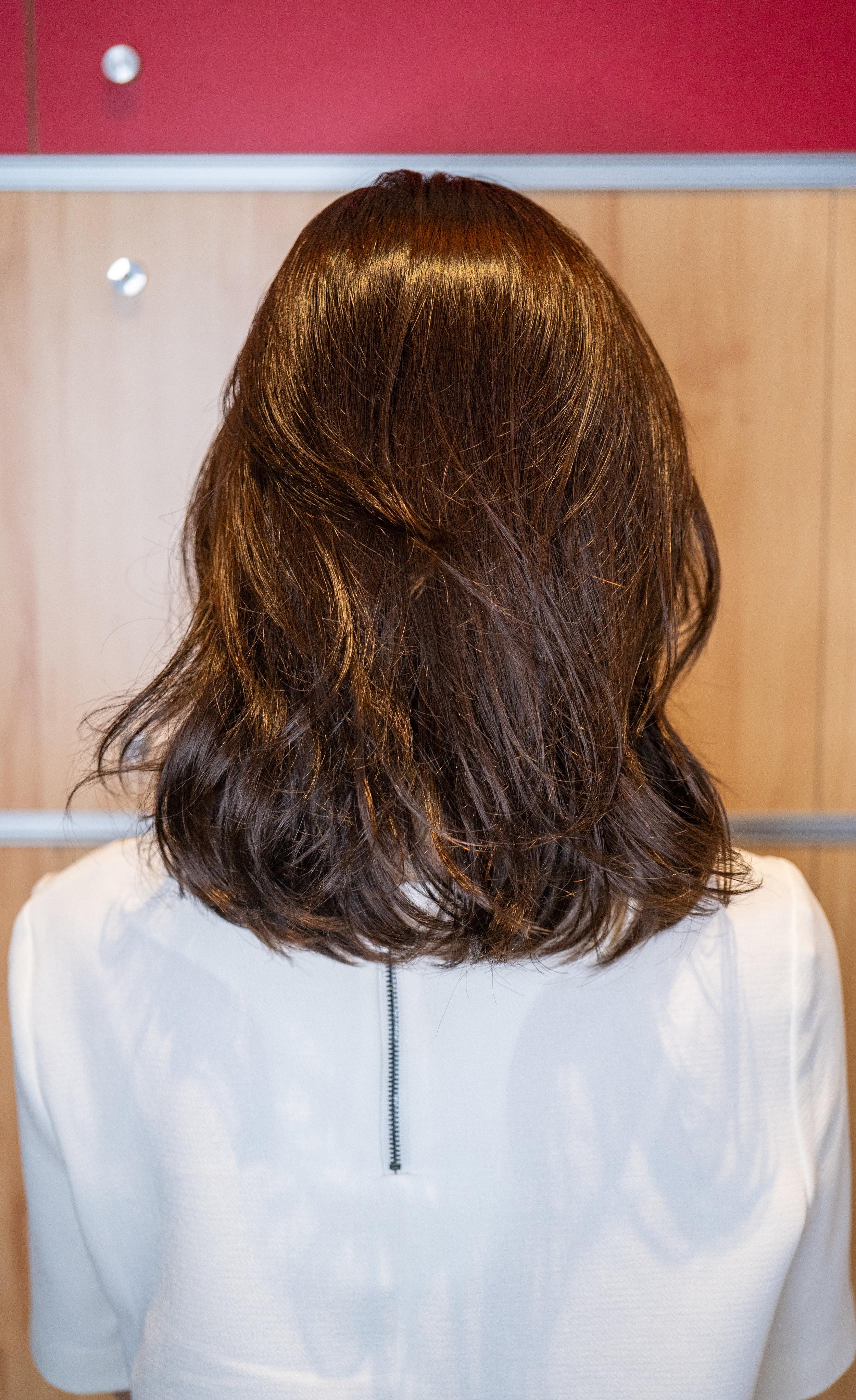 Shiny and smooth permed hair by Korean hairstylist Matthew Kim at DuSol Beauty Novena