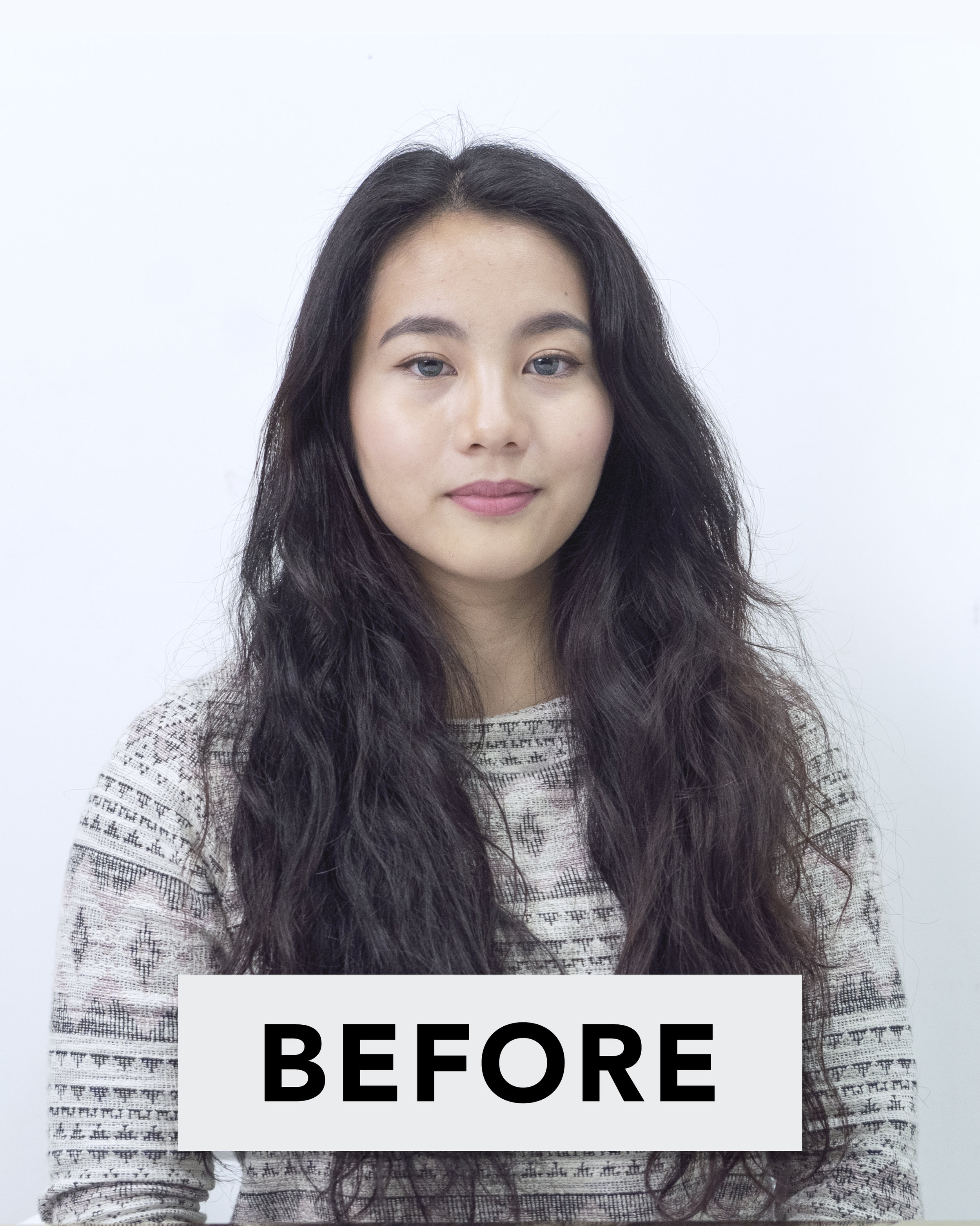 Before using Chanamu C Leave-in Treatment, loose natural curls and dry hair ends.
