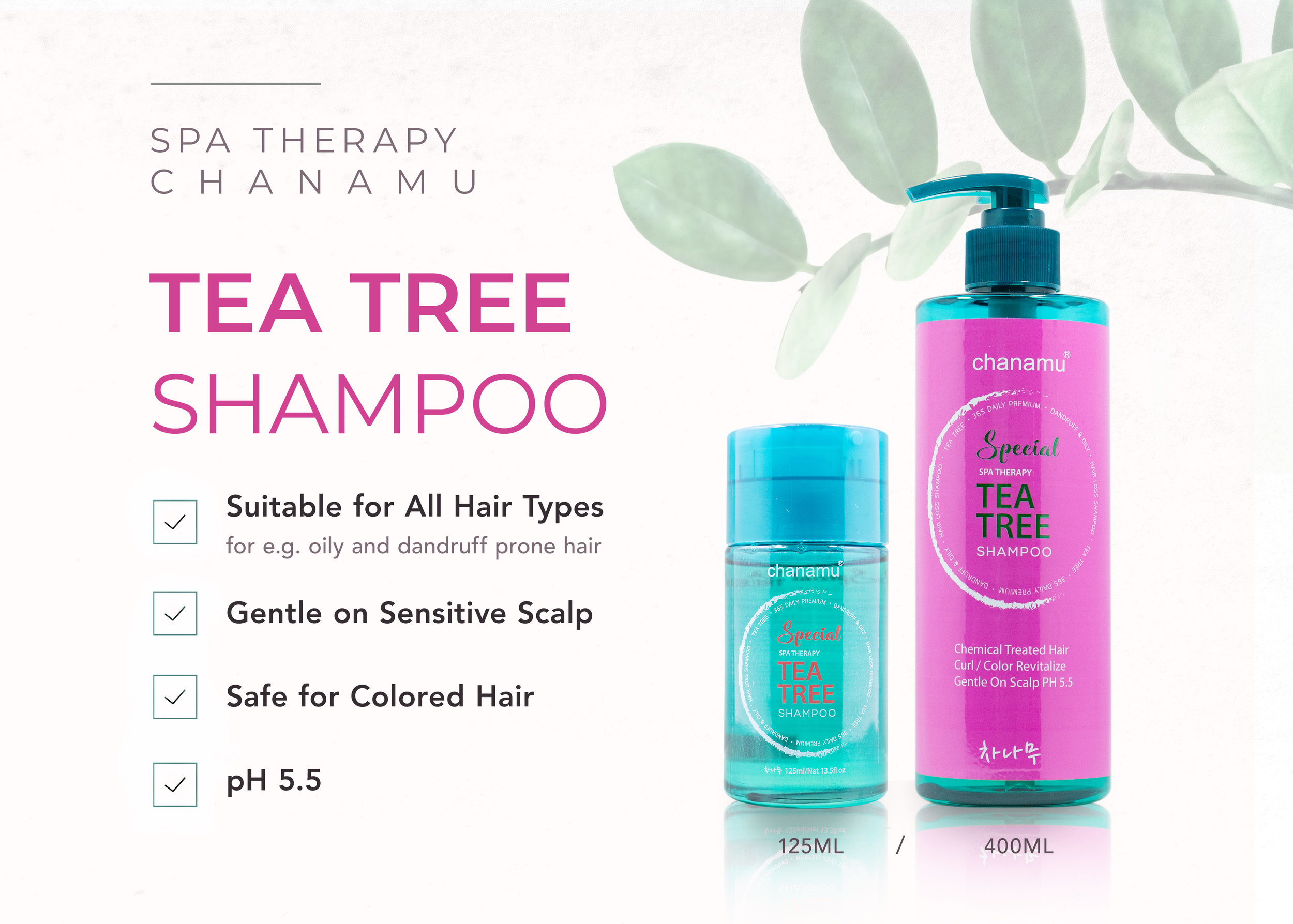 Chanamu Tea Tree Shampoo in travel and full bottle sizes with a leaf background. Shows who this shampoo is for, such as a lady with oily and dandruff prone hair and works for coloured hair too.