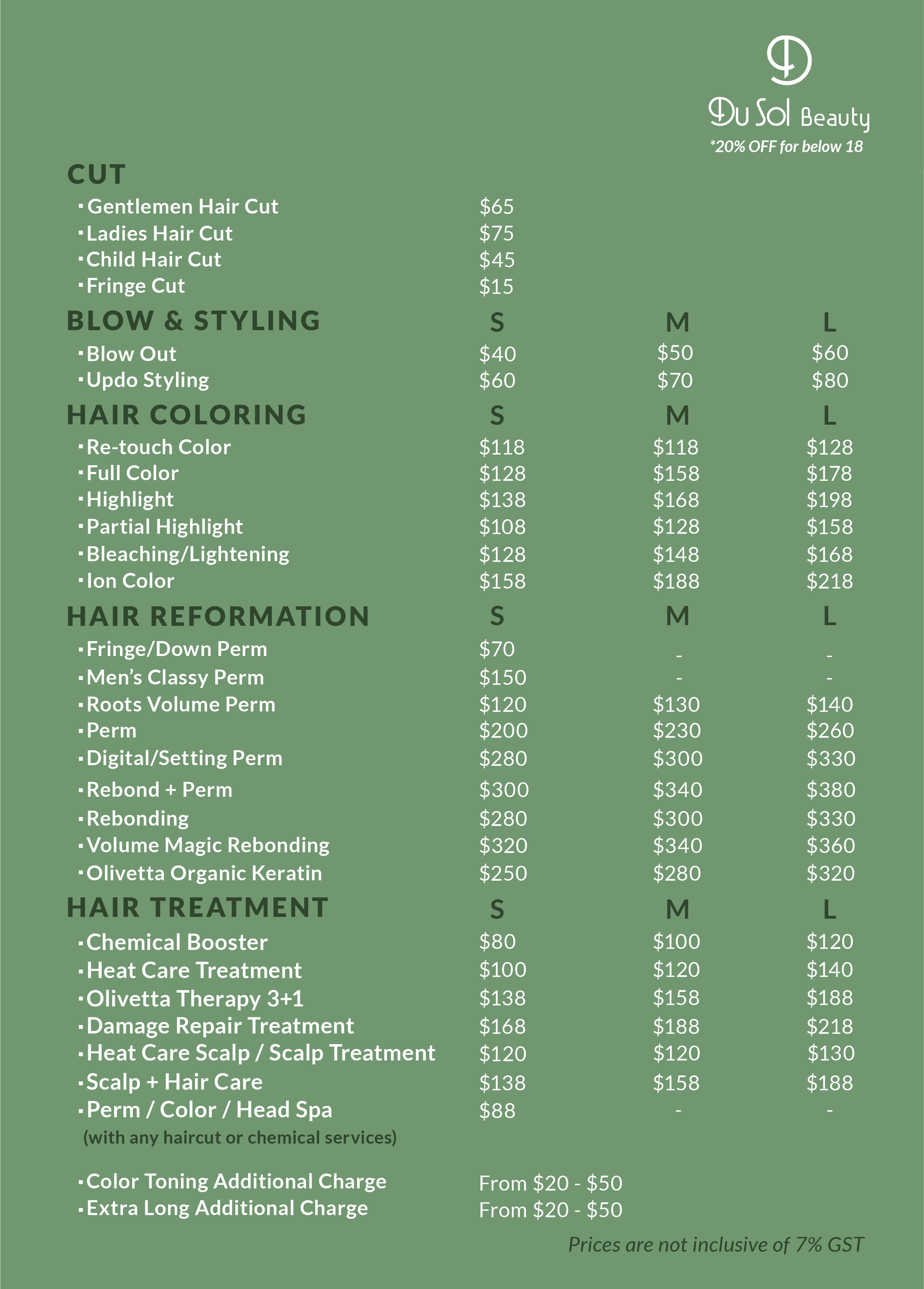 Menu of DuSolBeautySG Orchard which includes pricing of their Korean Perms, as well as hair treatments