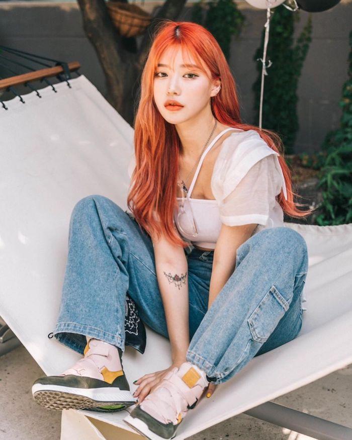 yoou.ch, Korean beauty social media influencer peachy orange hair colour