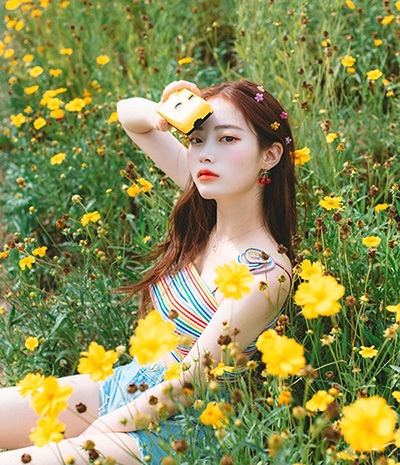 94_j.a, Korean beauty social media influencer with warm red brown hair