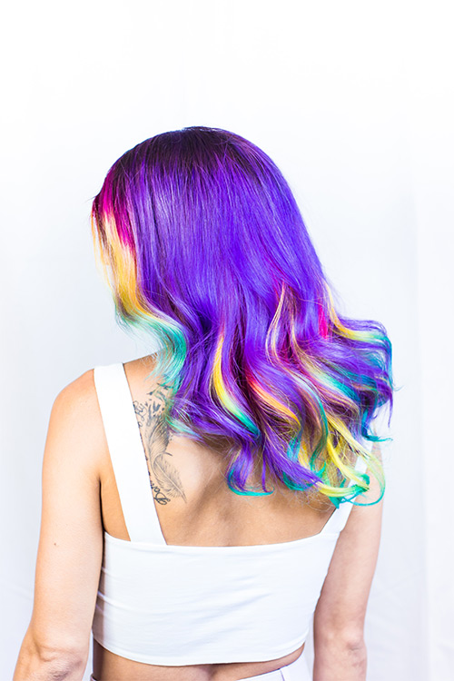 Rainbow hair requires hair to be bleached and dyed a lot, which damages the hair follicles over time, thus causing thinning of hair.