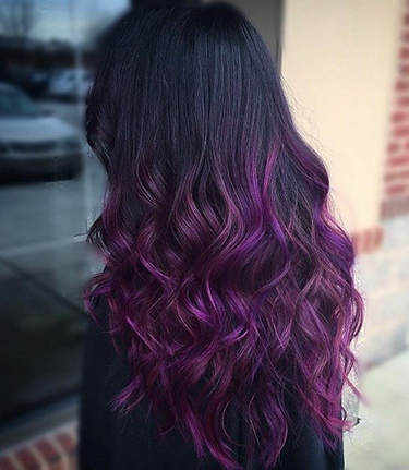 Purple curled hair with no bleach required