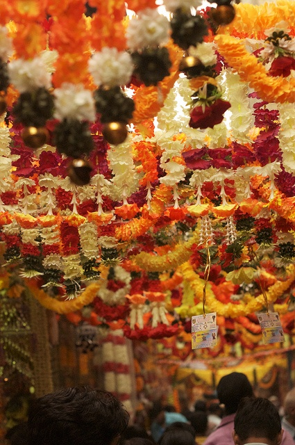 Flower garlands in a Delhi market.  Image from Pinterest.