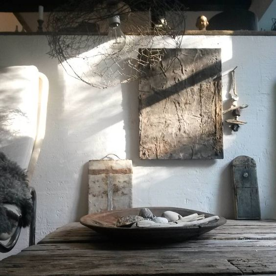 The wabi-sabi colour palette is neutral and subdued, with shades of white and earthy tones.  Image via Pinterest.
