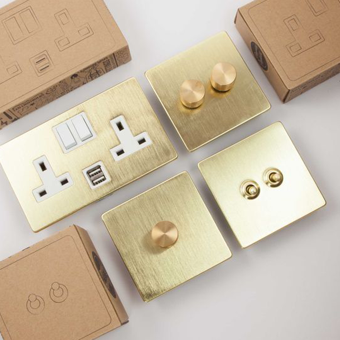 Gold switch plates and sockets, Dowsing & Reynolds