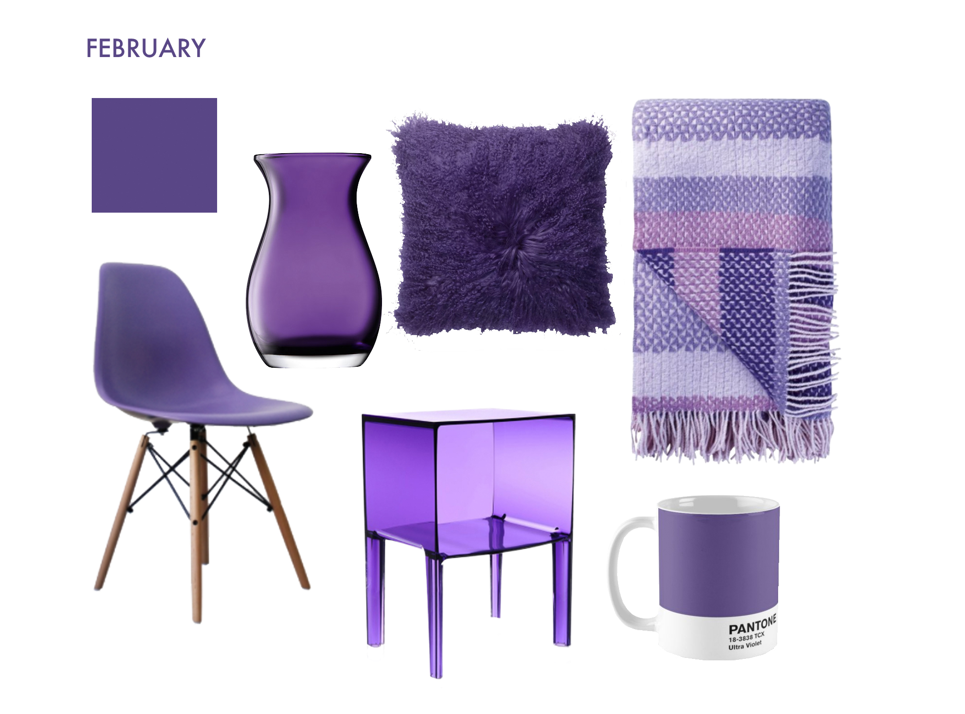 Clockwise from top left: Dulux Purple Pout, vase from LSA, cushion from Wayfair, throw from Designers Guild, mug from Pantone, Kartell side table, Eames DSW side chair.