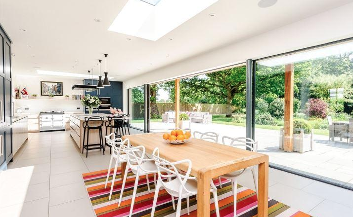 The stunning open plan kitchen extension.